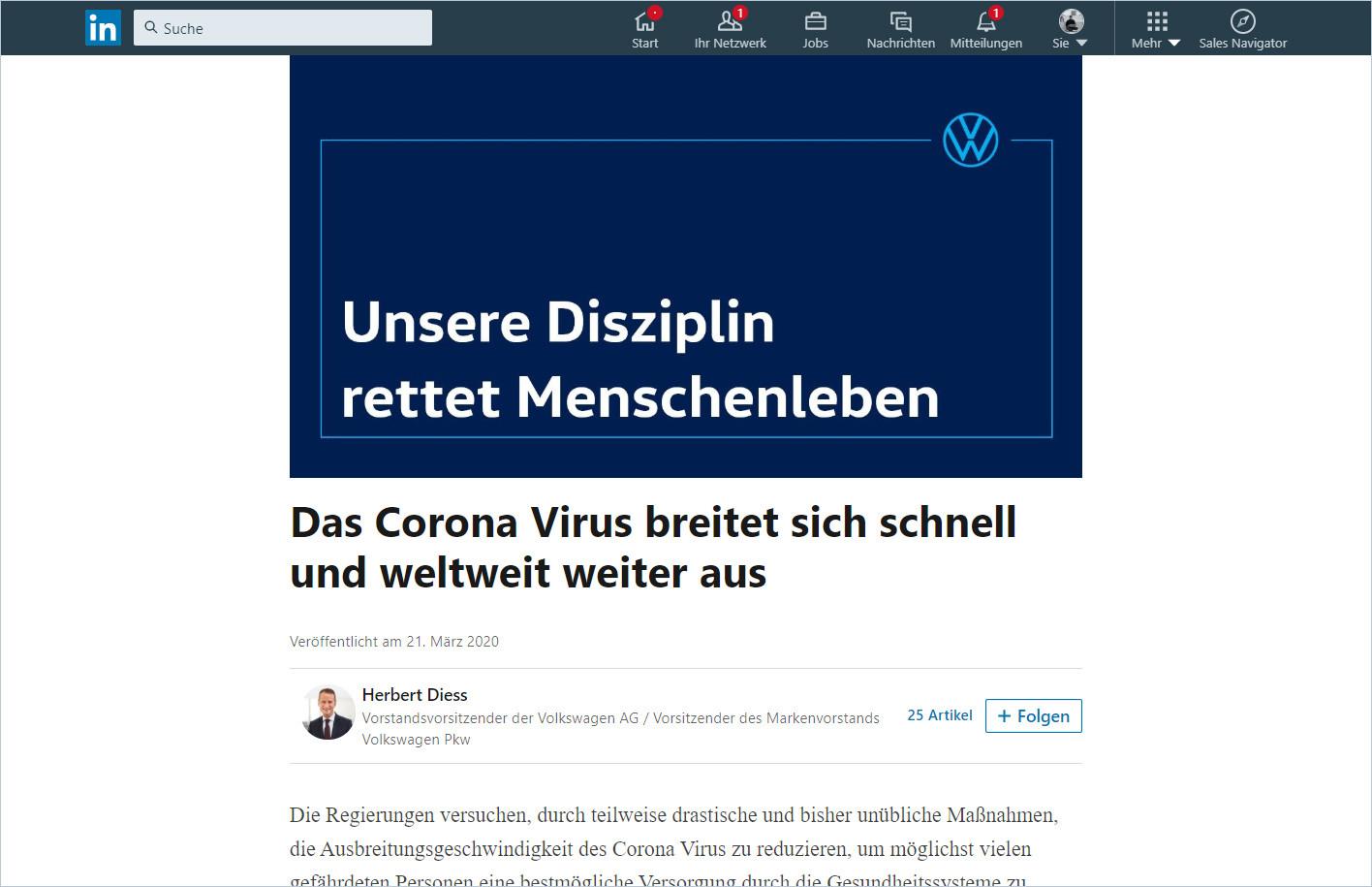Herbert Diess LinkedIn