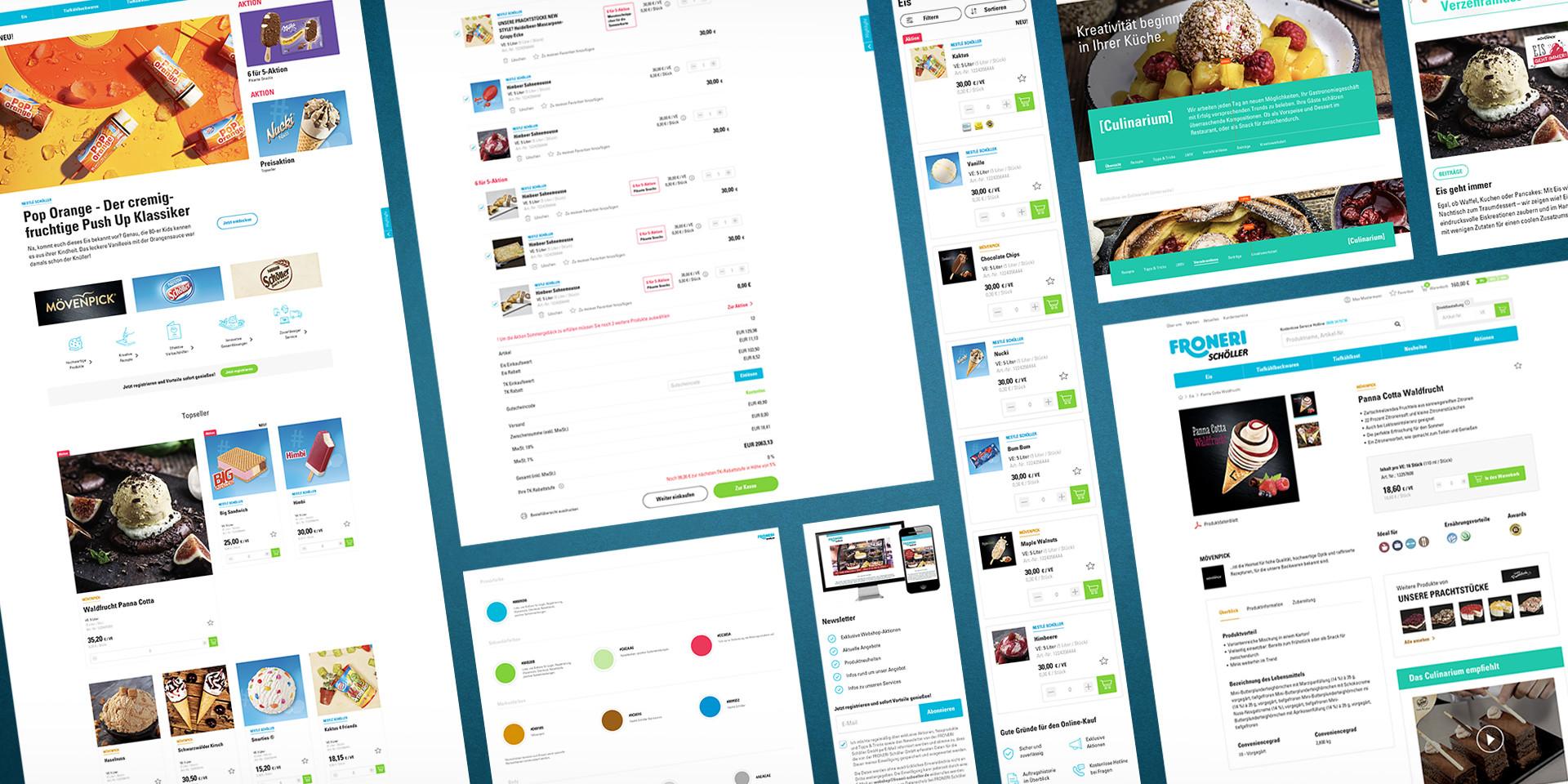 Screens B2B-Onlineshop Froneri Schöller