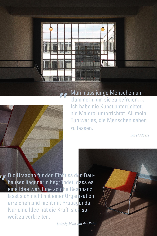 Bauhaus Zitate von Josef Albers und Ludwig Mies van der Rohe