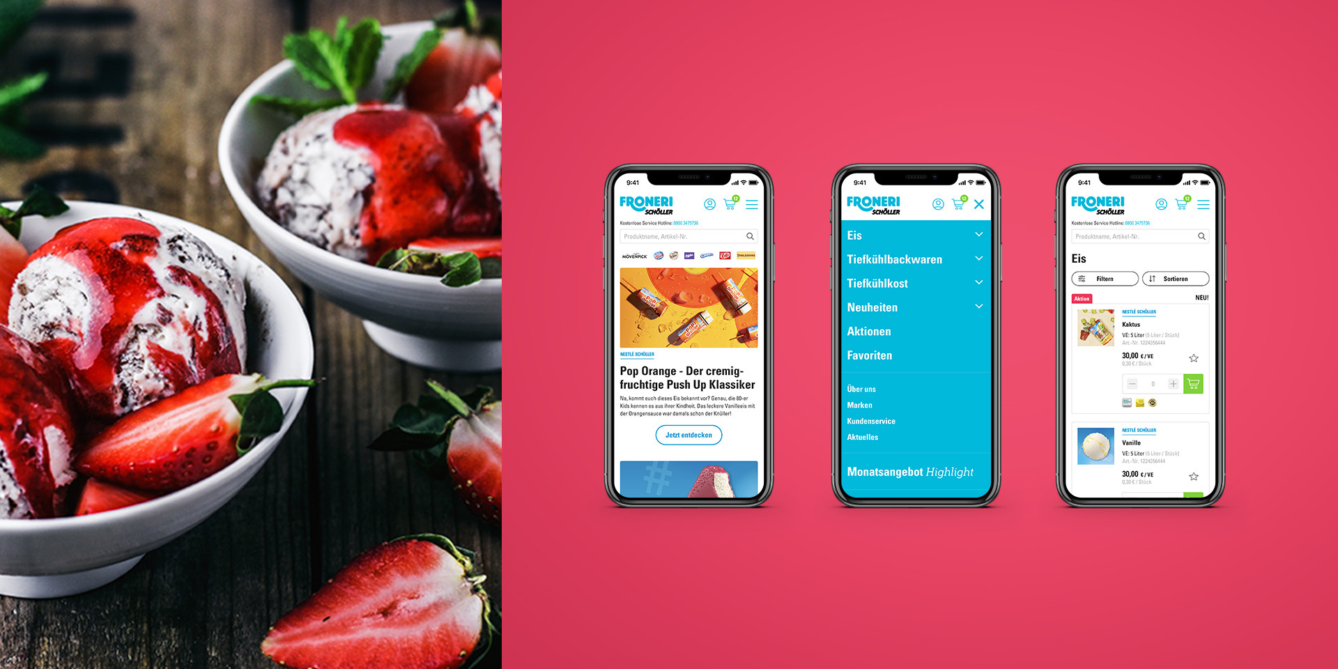 Mobile B2B-Onlineshop Froneri Schöller